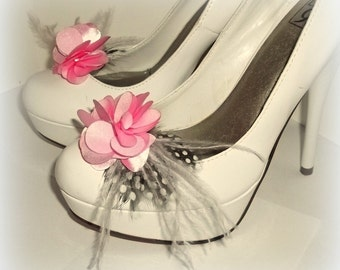 Shoe Clips - Light Pink satin flower shoe clips, Feathered Shoe Clips, Wedding Shoe Clips