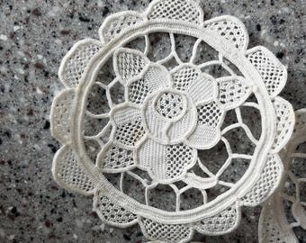 Vintage rose lace 3 inch rounds