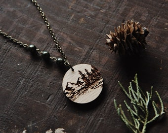 ferryn. a rustic wooden mountain and forest pendant necklace