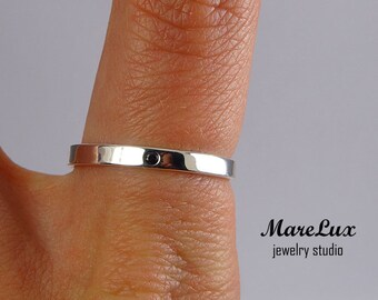 Black Diamond Sterling Silver Band, 1.5 mm Black CZ Thin Band Ring, June Birthstone Synthetic Black Diamond Band Silver Cubic Zirconia Band