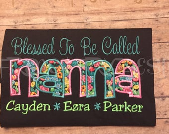 """Grandmother Sweatshirt for NANNA Customized and Personalized """"Blessed to be called"""""""
