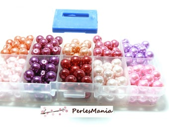 Essentials: 250 glass pearl beads multicolored 8mm PX5811
