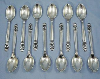 Georg Jensen Acorn 12 Sterling Silver Dessert Spoons