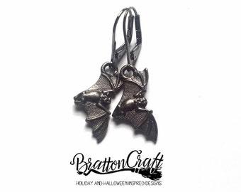 Flying Black Bat Earrings - Black Bat Earrings - Halloween Earrings - Halloween Jewelry - Vampire Bat Earrings