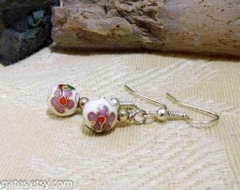 Enameled Painted Metal Silver Dangle Earrings