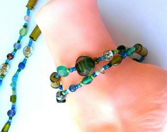 3 in one Necklace, bracelet, ankle bracelet Blue Green and multi sizes