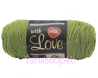 LETTUCE Red Heart with Love Yarn, Light Green Acrylic Yarn. (sage, pea green) This is a Large Skein of Solid Green Acrylic Yarn. No Dye Lot.