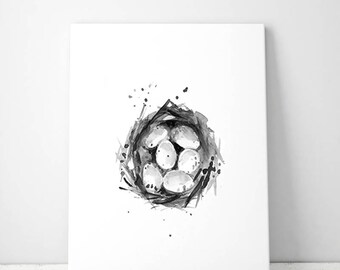 Bird nest art - spring art - print - nest painting - bird nest illustration - bird eggs - black grey - bird nest decor - spring painting