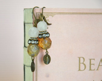 Pastel Color Beaded Ear Drops / Shabby Chic Beaded Earrings