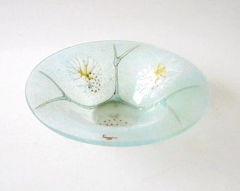 Modernist Higgins Art Glass Bowl Thistledown  Mid Century Modern