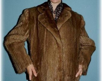 1980's Vintage Tan Corduroy Mink Plus Size Fur Jacket