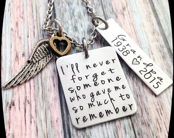 Memorial Jewelry, Remembrance, Sympathy Necklace, Loss of dad, Loss of Grandpa, Loss of Brother, Memorial Gift, Personalized