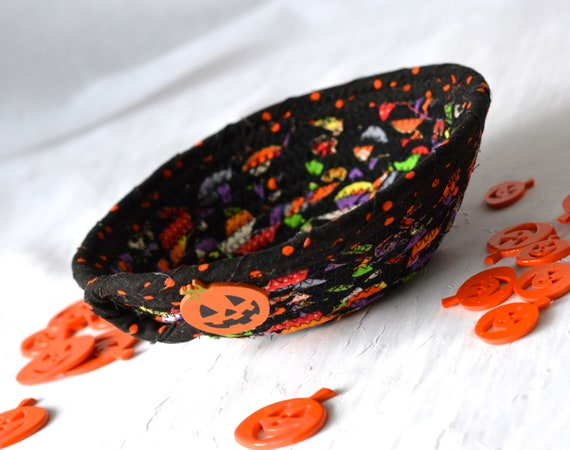 Halloween Decoration, Black Fabric Basket, Fall Desk Accessory Basket, Change Dish, Coin Holder, Fall Halloween Candy Dish