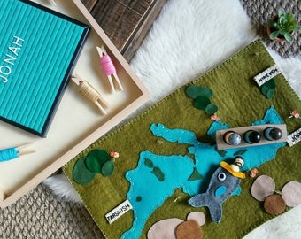 Mediterranean sea waldorf inspired ocean felt wool playscape playmat - pretend play storytelling story time - geography play map