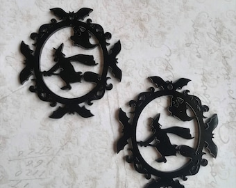 Halloween Pendant charms Ornament Lasercut Acrylic gothic goth Halloween Spooky 2 Pieces Witch Bat Broomstick Black