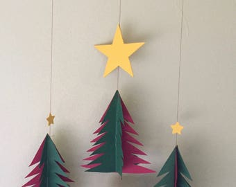 Three dimensional red and green Christmas tree mobile