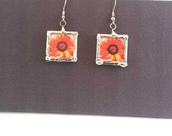 Red Gerbera Flower Earrings, Dangle Earrings; Simple Elegance; Gift Wrapping Available