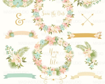 """Flower clipart: """"WEDDING WREATHS CLIPART"""" with wedding clipart, wreath clipart, floral clipart, 17 images, 300 dpi. png, eps files"""