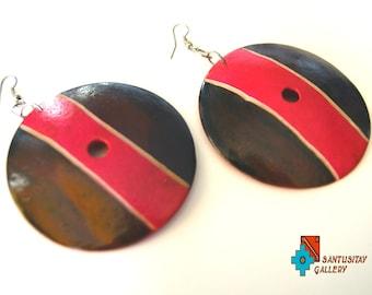 Totumo bark natural earrings hand made jewellery brown PINK folk boho hippi hand painted