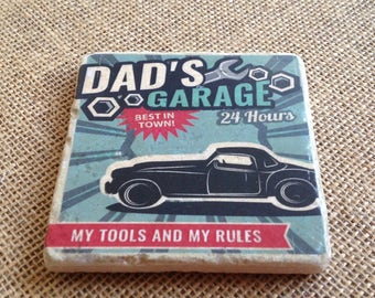 Dad's Garage Best In Town! -  Natural Travertine Coaster SOLD INDIVIDUALLY