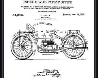 Harley Davidson Motorcycle Vintage Patent Blueprint Poster A4