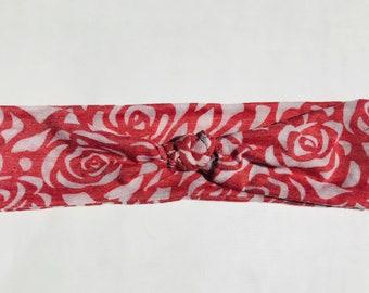 Skye- Rose Printed Headband (Faux-Turban or Knot Style)