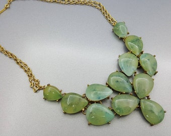 Faux Jade Bib Necklace Lucite pretty with Gold tone