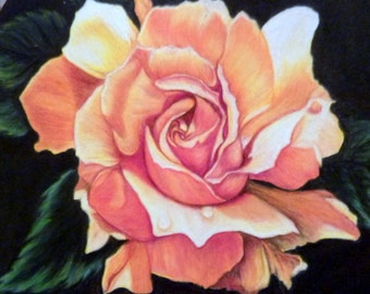 Original Rose Drawing - Colored Pencil Painting - Yellow Rose Picture, Oval frame - Mothers Day gift - gift for her - Rose painting