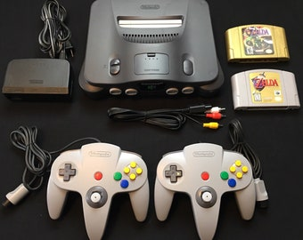 Nintendo 64 with 2 OEM Controllers Zelda Ocarina of Time and Majora's Mask