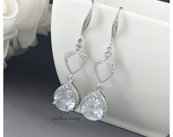 Long Cubic Zirconia Earrings Bridal Earring Dangle Earrings Wedding Earrings Bridal Jewelry Gift for Her Statement Earrings Crystal Earrings