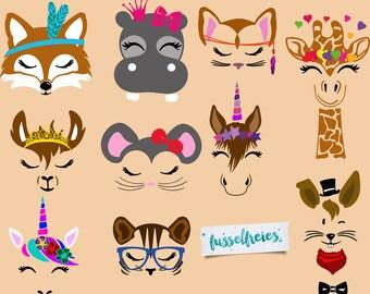 "Plotterfile Series ""Happymals""-Happy Animals lint-free unicorn, tiger, cat, mouse, horse, Hippo, Fox, Giraffe, Hare, Lama"