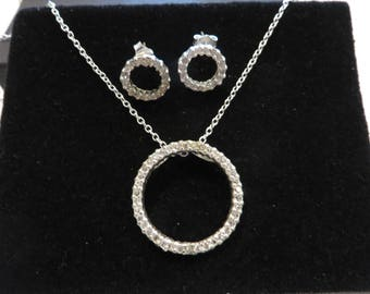 Vintage Sterling Silver Eternity Circle Cz Jewelry Set