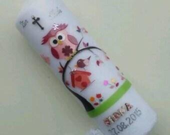 Christening OWL girl pink
