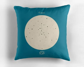 CANCER Astrological Constellation Throw Pillow, Minimalist Zodiac Art, Home Decor