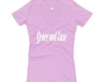 Grace and Ease White Print Women's V-Neck T-shirt