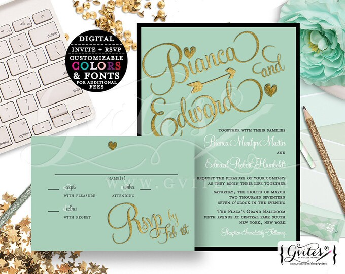 Mint and gold Wedding Invitations, printable bridal invites, black green, invitation and response card, DIY, Digital File.