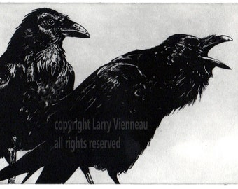 Raven artwork , Raven, crow, Black Bird, Mythology, Etching 2014, Assorted colors. 5 inch x 7 inch