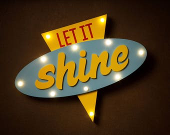 "Pop art style ""Let it shine"" LED Light - retro Lamp free UK P&P"
