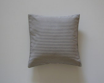 Ticking Striped 14x14 Pillow Cover Blue Stripes On Cream Background