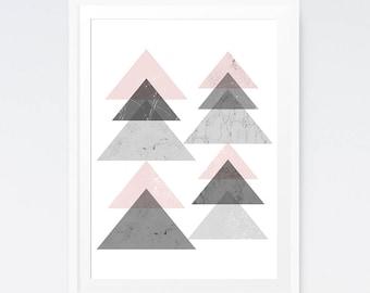 Abstract art, Modern decor, Abstract art pink, Large abstract art, Modern art, Digital print, Home decor, Scandinavian print