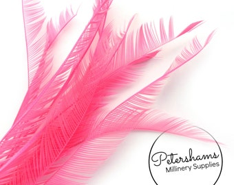 10 Zippered Goose Biot Feathers for Millinery and Hat Trimming - Bright Pink