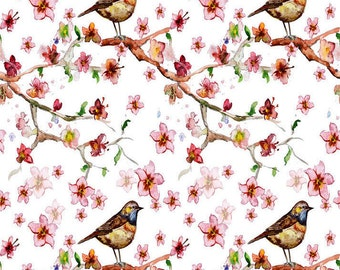 Birds on a Limb - Ceramic Decals- Enamel Decal - Fusible Decal - Glass Fusing Decal ~ Waterslide Decal - 15060