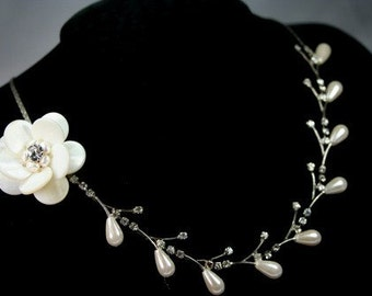 Pure Elegance- Rhinestone Fresh Water Pearl, Faux Pearl, Handmade Monther of Pearl Shell Rose Necklace
