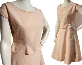 Vintage 50s Dress Set Rockabilly Blouse & Skirt Pink Wool Felt Floral Corded Embroidery M