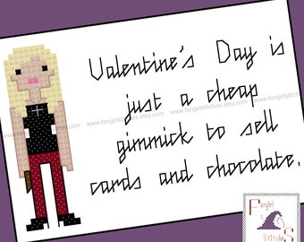 Buffy the Vampire Slayer inspired anti-Valentine's Day Cross Stitch card - PDF Pattern - INSTANT DOWNLOAD