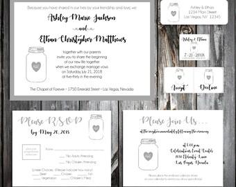 100 Mason Jar Wedding Invitations, RSVP's, Reception Inserts w/ FREE Calendar Stickers