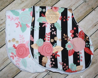 Burp Cloths-Girls Burp Cloths-Floral Burp Cloth-Baby Girl Burp cloth-Set of 2 Burp cloth-Baby Burp Cloth- Burp Rag Set