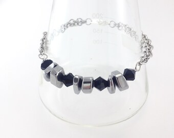 Black Glass & Silver Nuggets Bracelet