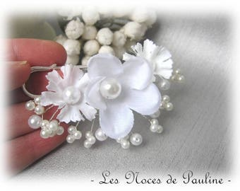 Attached white train with Eglantine flowers mariageBroche wedding dress, back train, brooch beads