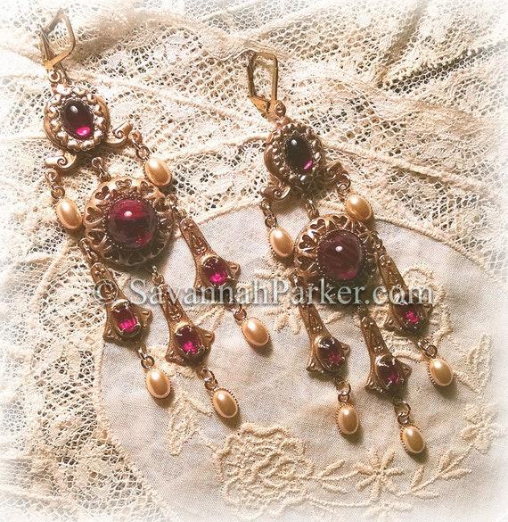 """Antique Style Victorian Edwardian Garnet Glass Filigree Chandelier Earrings - Vintage Czech Glass Stones -  3.25"""" long - READY TO SHIP"""
